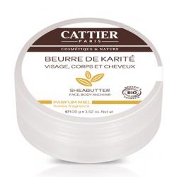 Cattier Beurre de karité Miel  100g produit de soin pour le visage, le corps et les cheveux Les Copines Bio