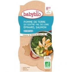 Babybio Bol Menu du jour Pomme de terre Epinards Saumon Dès 8 mois 2x200gr produit d'alimentation bio pour bébé Les Copines Bio