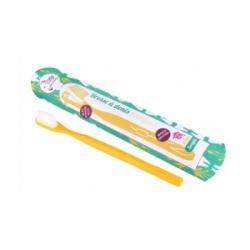 Lamazuna Brosse à dents écologique rechargeable Jaune Medium 17gr produit accessoire d'hygiène bucco-dentaire Les Copines Bio