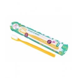 Lamazuna Brosse à dents écologique rechargeable Jaune Souple 17gr produit accessoire d'hygiène bucco-dentaire Les Copines Bio
