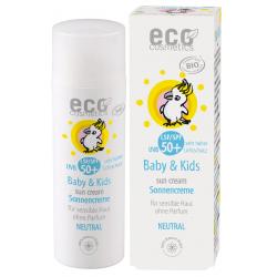 Eco Cosmetics Crème solaire bébé indice 50+ neutre peaux très sensibles sans parfum 50ml qte_xls Soin Solaire bio Les Copines Bi