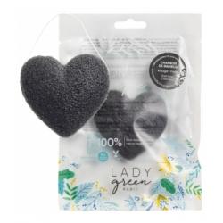 Lady Green Eponge Konjac Merveilleuse Charbon de Bambou Séboregulatrice 1 unité produit accessoire de soin pour le visage Les Co