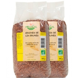 Primeal Lot de 2 paquets de graines de lin brun 500g 500g produit d'alimentation Les Copines Bio