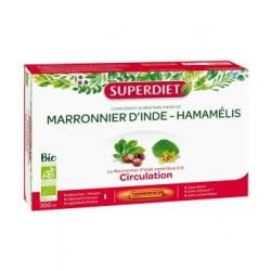 Super Diet Marronnier d'Inde Hamamélis Bio 20 ampoules de 15ml 20 ampoules de 15 ml complément alimentaire bio Les Copines Bio