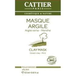 Cattier Masque Argile verte Romarin et Menthe sachet unidose 12m5ml produit de soin pour le visage Les Copines Bio