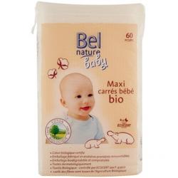 Bel Nature Maxi carrés bébé coton bio 60 unités produit de soin pour bébé Les Copines Bio