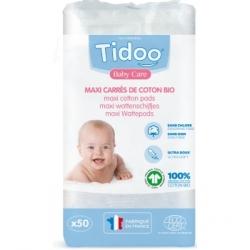 Tidoo Care Maxi Carrés de Coton Bio Ultra doux 100% biologique TidooCare 50 unités produit de nettoyage pour bébé Les Copines Bi