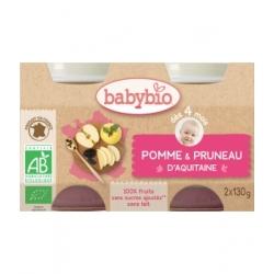Babybio Petits pots Pommes Pruneaux 2X 130g dès 4 mois  260g produit d'alimentation bio pour bébé Les Copines Bio