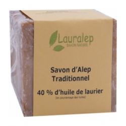 Lauralep Savon d'Alep Traditionnel 40% 200.0gr produit d'hygiène pour la douche et le bain Les Copines Bio