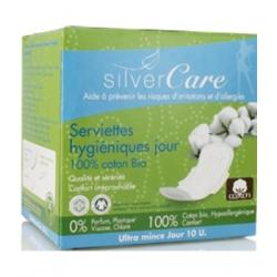 Silvercare Serviettes jour 100% coton bio Ultra minces avec ailettes 10 unités produit d'hygiène féminine Les Copines Bio