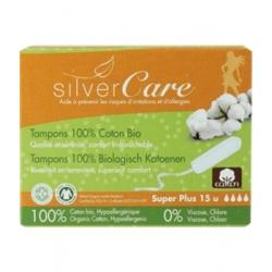 Silvercare Tampons 100% coton bio sans applicateur, boîte de 15, Super Plus 0.0ml produit d'hygiène féminine Les Copines Bio