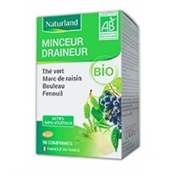 Naturland Minceur Draineur The vert Marc de raisin Bouleau Queue de cerise Bio 90 comprimés Complément alimentaire Les Copines B