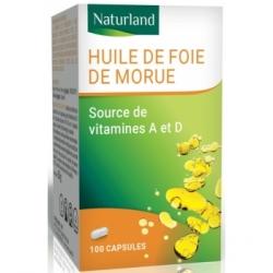 Naturland Huile de Foie de Morue 100 capsules Végécaps  Complément alimentaire Les Copines Bio