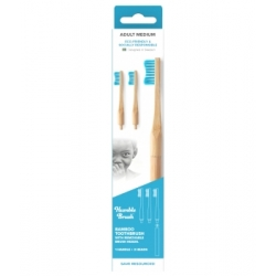 Humble Brush Manche Brosse à dents 3 têtes interchangeable adultes bleue Medium produit d'hygiène bucco-dentaire Les Copines bio