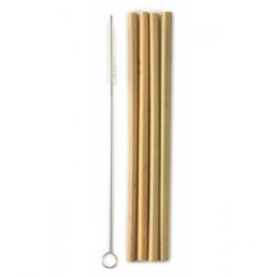 Humble Brush Lot de 4 pailles en bambou avec goupillon  produit accessoire pour l'alimentation Les Copines Bio