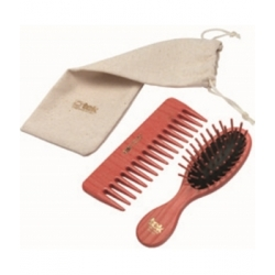Tek Set de coiffure Brosse et Peigne Rose  produit de Soins capillaires Les Copines Bio