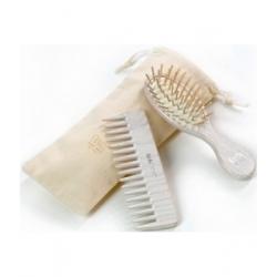 Tek Set de coiffure Brosse et Peigne Blanc produit de Soins capillaires Les Copines Bio