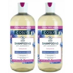 Coslys Lot de 2 Shampooing booster d'éclat cheveux gris et blancs centaurée 2 x 500ml  produit de soin capillaire Les Cop