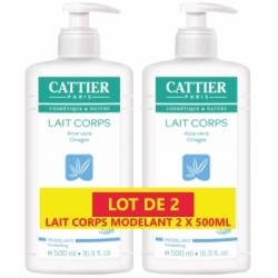 Cattier Lot de 2 Lait Corps Hydratant modelant aloe vera onagre 2 x 500ml produit de soin corporel bio Les Copines Bio