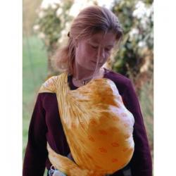 Storchenwiege Echarpe porte bébés Saumon Louise abricot 100% coton biologique 4.60m  produit textile pour bébé Les Copine