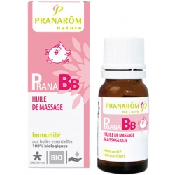 Pranarôm Huile de massage Bio PRANABB Immunité 10ml  produit de soin et de massage pour bébé Les Copines Bio