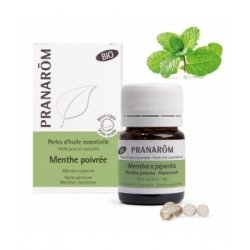 Pranarôm Perles d'huile essentielle Menthe poivrée Bio 60 perles produit d'aromathérapie bio Les Copines Bio