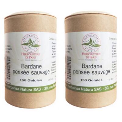 Herboristerie de paris Bardane Pensée Sauvage lot de 2 boites 150 gélules végétales Les copines bio