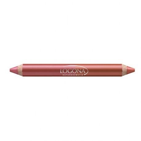 Logona Rouge à lèvres duo crayon bois N°7 cherry 2.98gr maquillage bio les copines bio