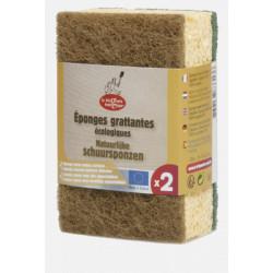 Droguerie Ecologique 1 éponge verte + 1 éponge marron à récurer en matières recyclées x2 accessoire de nettoyage pour la maison