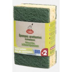 Droguerie Ecologique Eponges grattantes vertes à récurer en matières recyclées 2 unités produit accessoire de nettoyage pour la