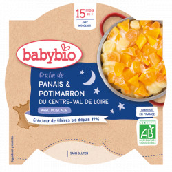 Babybio Assiette Bonne Nuit Gratin de Panais Potimarron dès 15 mois 260gr Beauté et Bien-être Les Copines Bio.