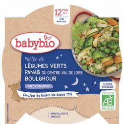 Babybio Assiette Bonne Nuit Poëlée de Légumes Verts Panais Boulghour dès 12 mois 230gr Beauté et Bien-être Les Copines Bio.
