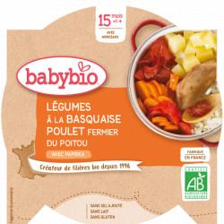 Babybio Assiette Menu du jour Légumes à la Basquaise Poulet Fermier dès 15 mois 260gr Beauté et Bien-être Les Copines Bio.
