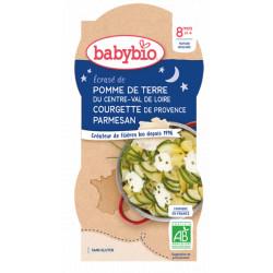 Babybio Bol Bonne Nuit Ecrasé de Pomme de terre Courgette Parmesan dès 8 mois 2x200gr produit d'alimentation bio pour bébé Les C