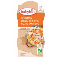 Babybio Bol Menu du jour Légumes Dinde du Poitou Riz Dès 8 mois 2x200gr produit d'alimentation bio pour bébé Les Copines Bio