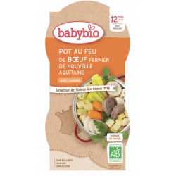 Babybio Bol Menu du jour Pot au feu de Boeuf d'Aquitaine Dès 12 mois 2x200gr produit d'alimentation bio pour bébé Les Copines Bi