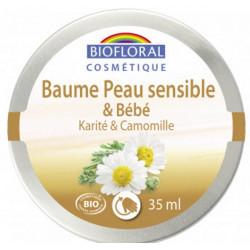 Biofloral Baume peau sensible et bébé Karité Camomille 35ml produit de soin visage et corps de bébé Les Copines Bio