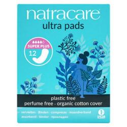 Natracare 12 Serviettes ultra super plus sans ailettes hygiène féminine les copines bio