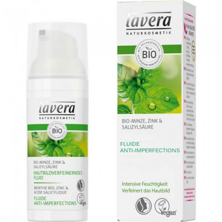 Fluide Anti-Imperfections Menthe 50ml Lavera peau grasse acné boutons les copines bio