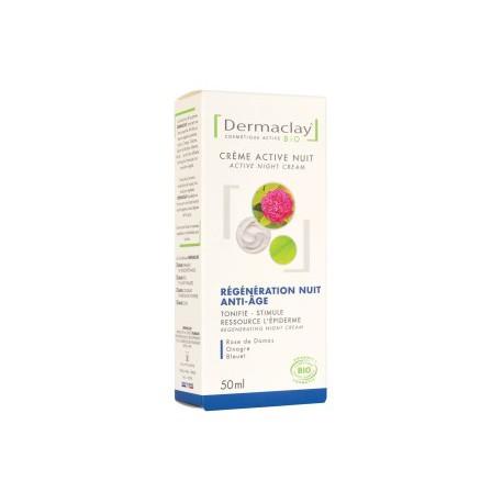 Dermaclay Crème active nuit régénération anti âge 50mll cosmétique bio les copines bio