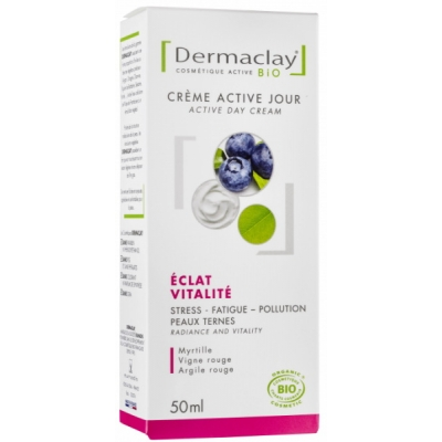 Dermaclay Crème Active Jour Eclat Vitalité 50 ml cosmétique bio les copines bio