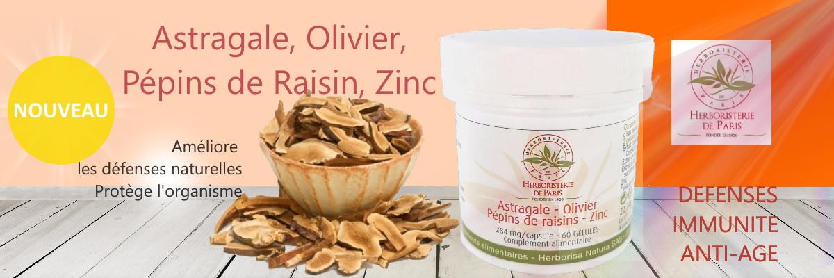 Astragale Olivier Pépins de raisins Zinc 60 gélules